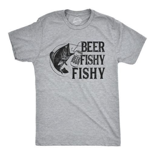Mens Beer Fishy Fishy Tshirt Funny Fishing Drinking Tee