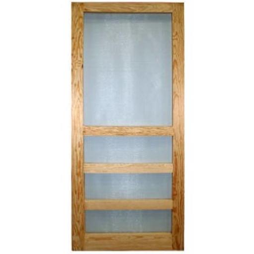 Wood Products 244086 3 Bar Heavy Duty Wood Screen Door - 3 ft. x 6 ft. 8 in.