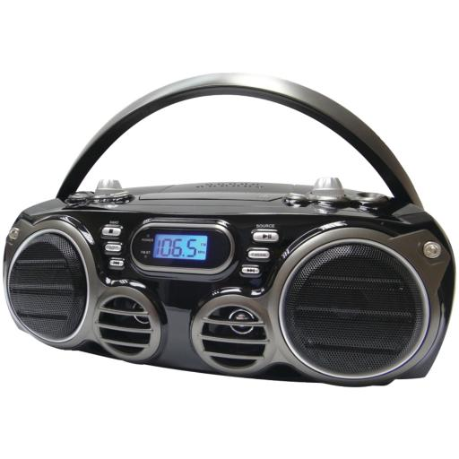 Sylvania Srcd682Bt Bluetooth(R) Portable Cd Radio Boom Box With Am/Fm Radio