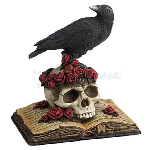 Perched Raven On Rose Skull And Open Poetry Book Statue