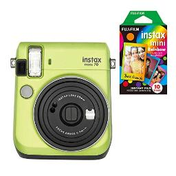 Fujifilm Instax Mini 70 Instant Camera with 10 Rainbow Film Sheets Kiwi Green