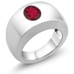 Gem Stone King 1.80 Ct Oval Red Mystic Quartz 925 Sterling Silver Men's Solitaire Ring