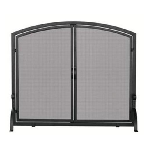 Single Panel Black Wrought Iron Screen With Doors- Large