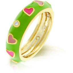 18k-gold-plated-with-apple-green-enamel-overlay-and-pink-enamel-hearts-accented-by-bezel-set-clear-cz-in-goldtone-size-10-1q5snposlgqwpkmr