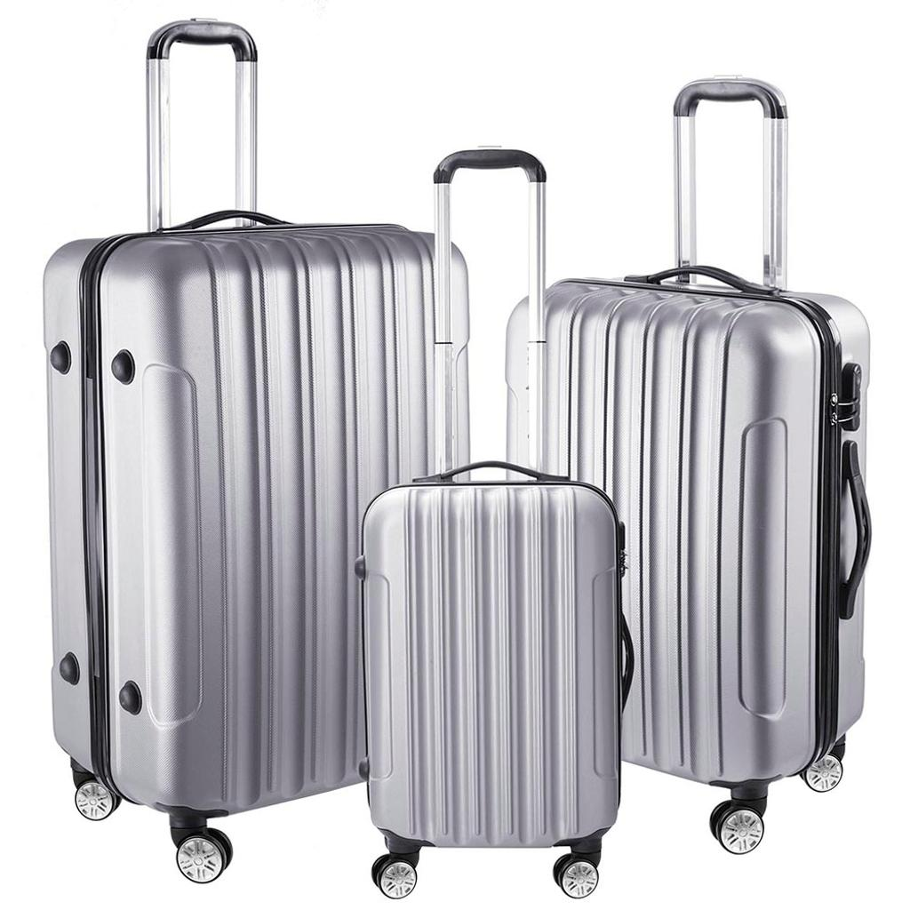 """3 Piece Luggage Set 20"""" 24"""" 28"""" Silver Rolling Travel Case Lockable ABS Suitcase Trip"""