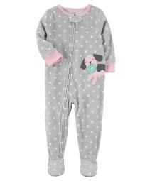 Carter's Little Girls' 1 Piece Dog Fleece Pajamas, 4-Toddler