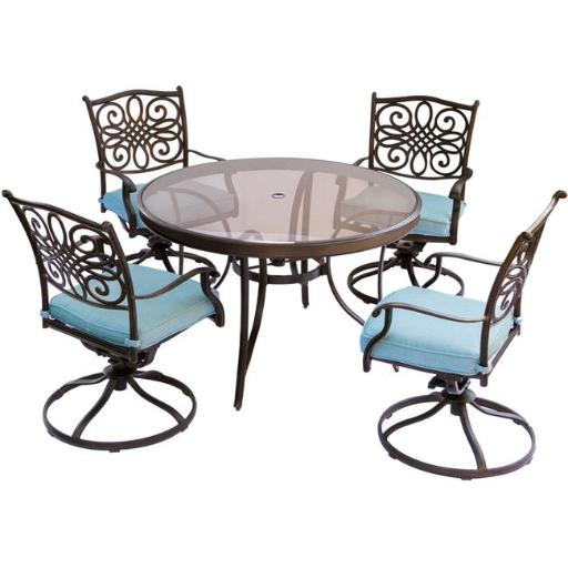 Hanover TRADDN5PCSWG-BLU Traditions Dining Set with Swivel Chairs & Glass Table - 5 Piece, Blue