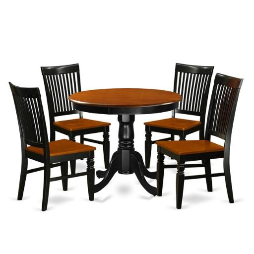 East West Furniture ANWE5-BCH-W Kitchen Table Set with a Dining Table & 4 Wood Seat Kitchen Chairs, 5 piece - Black & Cherry