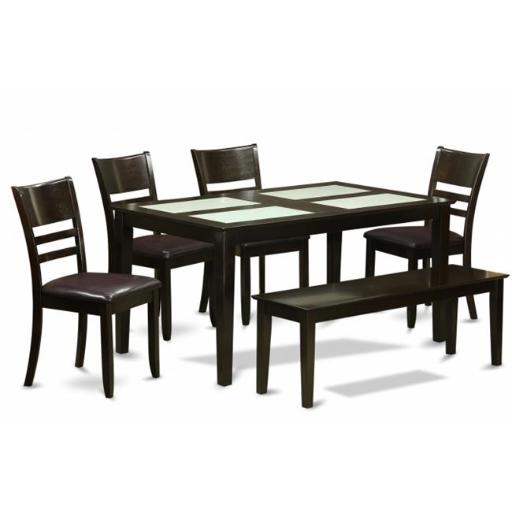 East West Furniture CALY6G-CAP-LC 6 Piece Kitchen Table With Bench Set-Glass Top Table and 4 Kitchen Dining Chairs and Bench