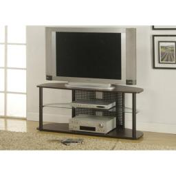 Offex OFX-284259-MO Cappuccino/Black Metal Entertainment Room TV Stand with a Tempered Glass