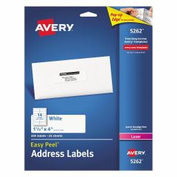 Avery Mailing Address Labels, Laser Printers, 350 Labels, 1-1/3 x 4, Permanent Adhesive (5262)