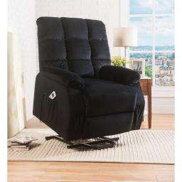 Contemporary Velvet and Metal Recliner with Power Lift, Black