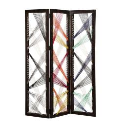 Contemporary 3 Panel Wooden Screen with Woven String Design, Multicolor