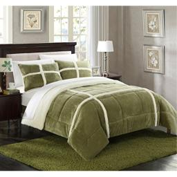 Chic Home 7 Piece Chloe Mink Sherpa Lined Queen Comforter Set Green Sheets Included