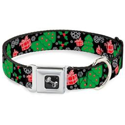 "Buckle-Down 18-32"" Christmas Collage Black/White/Green/Red Dog Collar Bone, Wide Large"