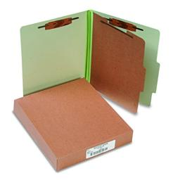 ACCO Classification Folders with Fasteners, Pressboard, 4-Part, Letter Size, Green, 10 per Box (A7015044)