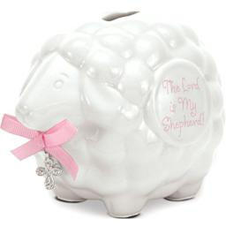 Brownlow Gifts Lamb Bank with Scripture, Baby Girl
