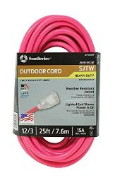 Southwire 02577-0A 25-Foot 12/3 Neon Outdoor Extension Cord, Made in the USA, Water Resistant Vinyl Jacket, Reinforced Blades, Clear Molded Plug With Power Indicated Light, Fluorescent Pink