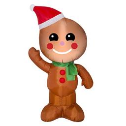 4 Foot Inflatable Airblown Gingerbread Man Christmas Yard Decoration Light Up