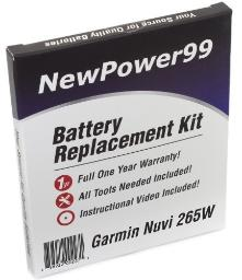 NewPower99 Battery Replacement Kit for Garmin Nuvi 265W with Installation Video Tools and Extended Life Battery
