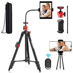 Kithouse Phone Tripod For Iphone Ipad Android Cell Phone Camera Tablet Tripod Stand With Remote, Phone Tablet Holder, Adjustable Gooseneck, Desktop Tripod And Carrying Bag For Video Recording Vlogging