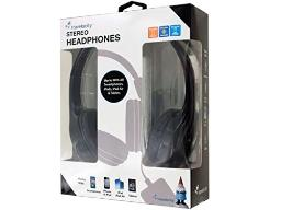bulk buys Wired Travelocity Padded Stereo Headphones - Black