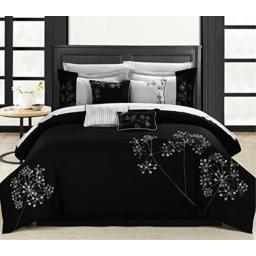 Chic Home Pink Floral Black/White Queen 12-Piece Bedding Embroidered Comforter Set, Cozy and Elegant
