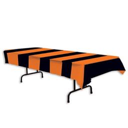 Beistle 00104 Orange and Black Stripes Tablecover, 54 x 108""