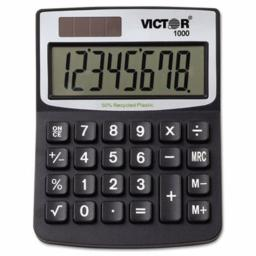 Victor 1000 Minidesk Calculator, Solar/Battery, 8-Digit Display, Black (VCT1000)