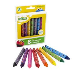 Sesame Street 8-Count Washable Triangular Crayons, Assorted Colors