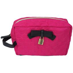 Betsey Johnson Quilted Heart Cosmetic Bag with Bow Lock Side Handle Pink