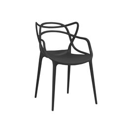 Masters Black Modern Stackable Arm Chair (Set of 4)