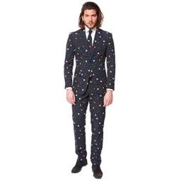 OppoSuits Funny Everyday Suits For Men - PAC-MAN - Comes With Jacket, Pants and Tie - US 42