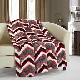 Chic Home Orna Throw Blanket New Faux Fur Collection Cozy Super Soft Ultra Plush Micromink Backing Decorative Striped Chevron Design50? x 60? 50 x 60 Red