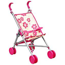 Umbrella Doll Stroller My First Doll Stroller for Kids Foldable Carriage with Swivel Wheels and Handles