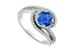 Created Sapphire and Cubic Zirconia Engagement Rings in 14kt White Gold 1.10.ct.tgw