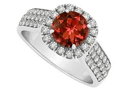Garnet and CZ Halo Ring in Sterling Silver 1.75 TGW