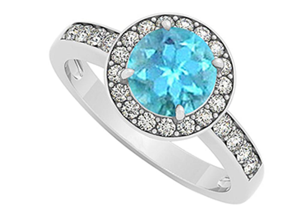 14K White Gold December Birthstone Blue Topaz and Cubic Zirconia Halo Engagement Ring