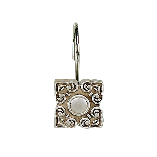 Carnation Home Fashions Bellport Resin Shower Curtain Hooks in Silver
