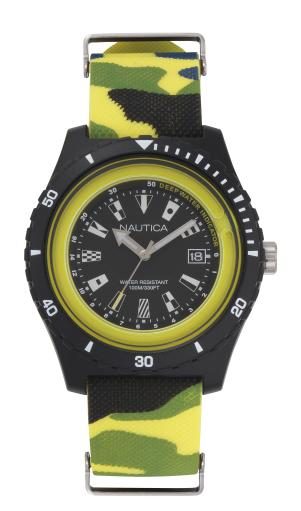 Nautica Watch NAPSRF007 Surfside, Analog, Water Resistant, Deep Water Indicator, Calendar, Signal Flag Indexes, Camo Silicone Strap, Black