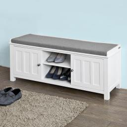 Haotian FSR35-W,White Storage Bench with 2 Doors & Removable Seat Cushion, Shoe Cabinet Shoe Bench