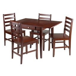 Winsome Hamilton 5-Piece Drop Leaf Dining Table with 4 Ladder Back Chairs