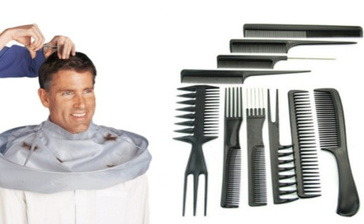 Hair-Cutting Cape with Professional Barber Style Comb Set (2-Pack)