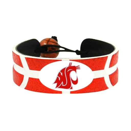 NCAA Washington State Cougars Team Color Gamewear Leather Basketball Bracelet