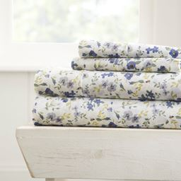 Home Collection Premium Ultra Soft Blossoms Pattern 4 Piece Bed Sheets Set