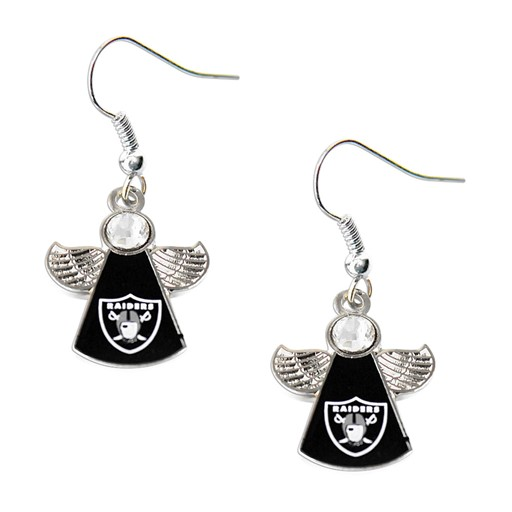 Sports Team Logo Oakland Raiders NFL Crystal Angel Wings Dangle logo Earring Charm Gift Set