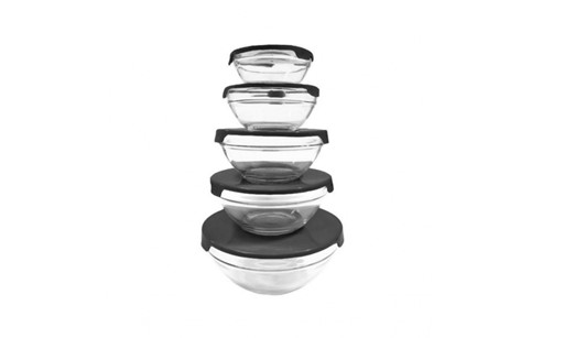 Premium 5 Piece Glass Bowl Set Great for Desserts, Salads, Leftover, Organizer and Much More (1, Black)