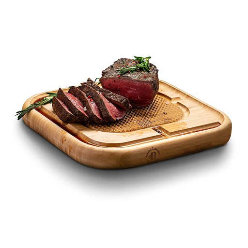 Premium Bamboo Carving Board with Deep Juice Groove, Meat Cutting Board Wood Steak Chopping Board, Serving Tray Pyramid Design to Stabilize Beef.