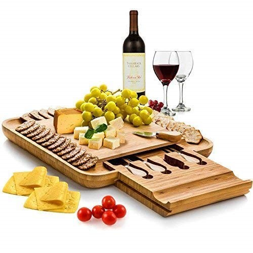 Bamboo Cheese Board with Cutlery Set, Wooden Charcuterie Platter and Serving Meat Board with Slide-Out Drawer with 4 Stainless Steel Knife and.
