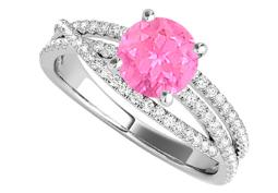 Pink Sapphire and CZ Ring with Criss Cross Design